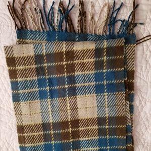 Very soft, plaid scarf - Blue, neutrals